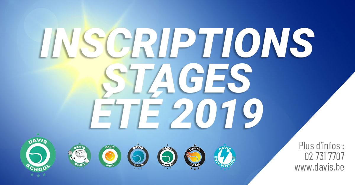 Inscriptions stages été 2019